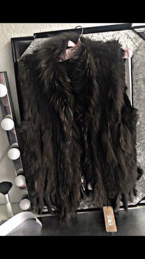 Smanicato di pelliccia marrone-nero-marrone scuro