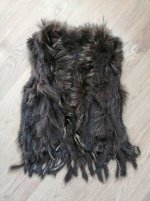 Fur vest light brown-dark brown