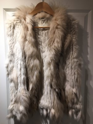 Fur vest cream-grey brown