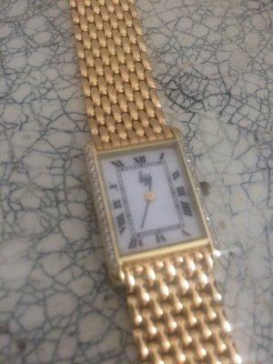 Echtgold Damen Armbanduhr aus 585 Gelbgold, mit Brillanten