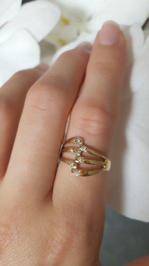 Echtgold Vintage Ring mit 5 Steinen