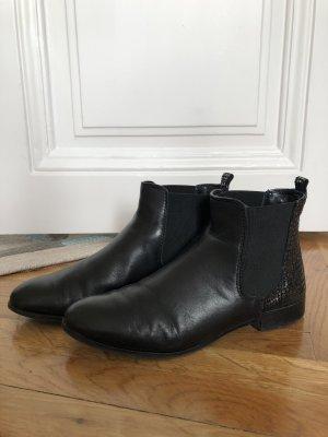 Details zu PECKOTT Denim Coole Biker Nieten Echtes Leder Stiefeletten Chelsea Boots Gr.39