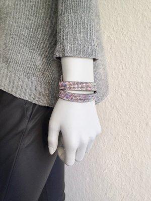 Echtleder Armband Strass Grey Bunt Onesize