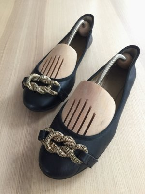 Cox Ballerinas black-gold-colored leather