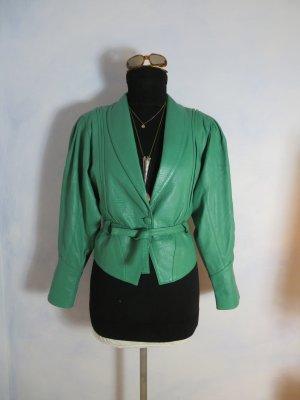 Echtleder Biker Jacket mit Taillengurt Chunky Cropped Mint Grün Star Leder Italy Parisienne