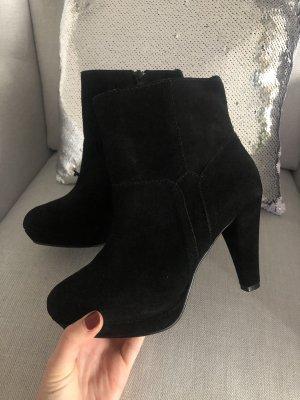 Echtleder Boots Stiefeletten Heels Stiefel Schuhe Wildleder schwarz Blogger 39