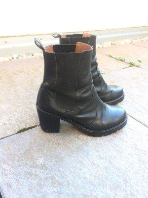 Echtleder Chelsea Boots Stiefeletten mit Blockabsatz Gr. 39