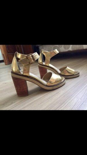 Echtleder Goldene Sandalen