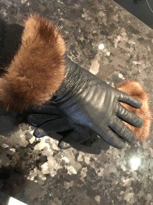 Echtleder Handschuhe mit echt Nerz