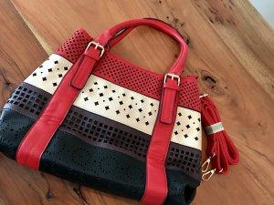 Echtleder Handtasche mit Schulterriemen rot/gemustert - NEU!!!