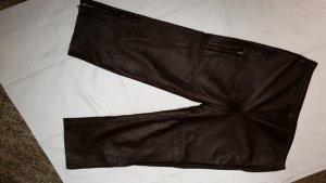 Pantalone in pelle marrone-rosso