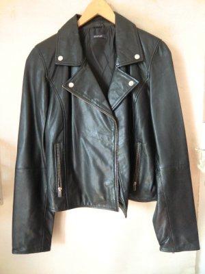 Echtleder Jacke Biker Gr 38 Leder schwarz Bikerjacke Lederjacke