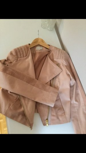 Echtleder Jacke Bikerlook blush