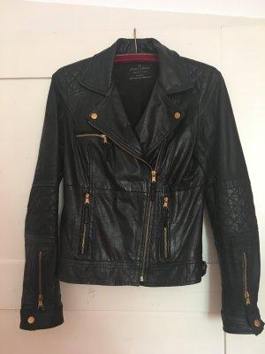 Echtleder- Jacke in Schwarz mit goldenen Applikationen