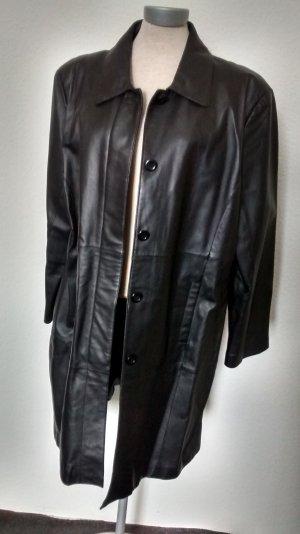 Echtleder Kurzmantel halblang schwarz Gr. UK 20 EUR 46 48 metal biker gothic Leder Mantel