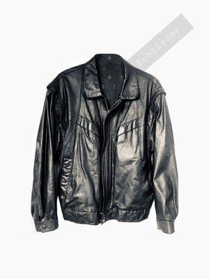 Echtleder Leder Lack glänzend schwarz Rocker Weste unisex Bomber | Vintage | L