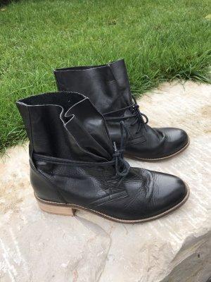 Echtleder Leder Schnürstiefel  Boots Ankle Boots Stiefelette schwarz 38/39