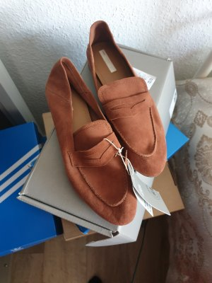 H&M Slippers cognac-coloured suede