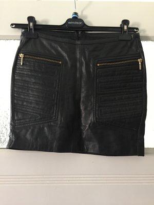 Mango Suit Leather Skirt black