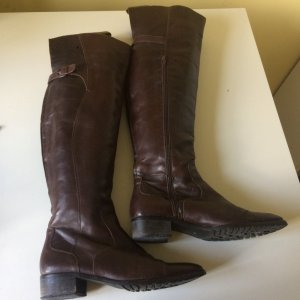 Overknees black brown leather