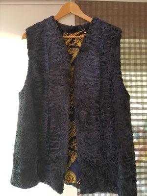 Leather Vest dark grey leather