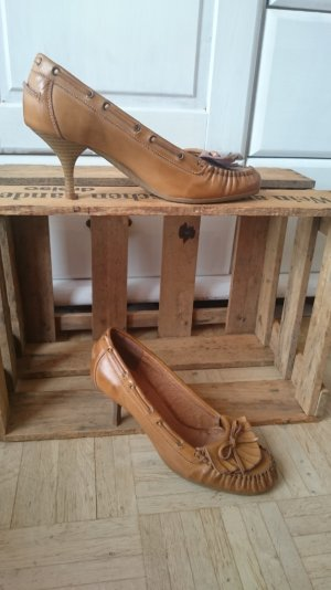 Echtleder Pumps im Mokkasin-Look