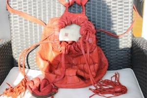 Echtleder Rucksack Rot mit kleiner Geldbörse Made in Italy