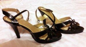 Sandalo con cinturino nero-oro Pelle
