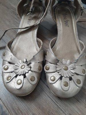 Echtleder-Sandalen im Metallic-Look
