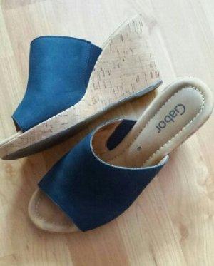 Echtleder-Sandalen / Wedges blau, Gabor