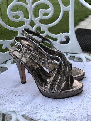 Echtleder Sandaletten Echtleder Kroko, Metallic Gr.39