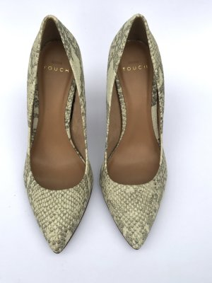 Echtleder Schlangenlederlook Pumps von Mango Gr 39 Blogger sexy Party Disco beige Hautfarben Zara