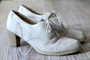 Echtleder Schnürschuhe im Vintage-Stil beige-grau 40