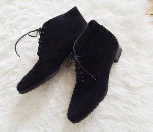 Echtleder Schnürschuhe schwarz Leder bequem Vintage Look Schnürung 38,5