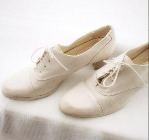 Echtleder Schnürschuhe Vintage beige hellbeige Creme Leder 40
