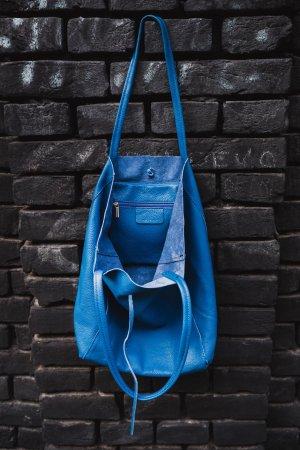 Echtleder Shopper Handtasche Henkeltasche blau NEU weich
