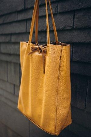 Echtleder Shopper Handtasche Henkeltasche Borse in Pelle camel weich