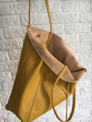 Echtleder Shopper Handtasche Henkeltasche Vera Pelle senf weich