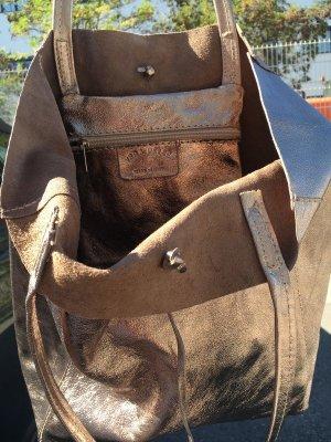 Echtleder Shopper Handtasche Henkeltasche Vera Pelle silber weich