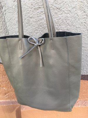 Echtleder Shopper Schultertasche Handtasche Vera Pelle Kalbsleder weich grau