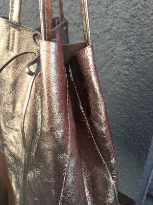 Echtleder Shopper Schultertasche Handtasche Vera Pelle Kalbsleder weich silber