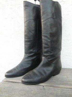 f4d0f88710193c Echtleder Stiefel flach True Vintage 80er Salamander Leder boots schwarz  flats Stiefel Lederstiefel