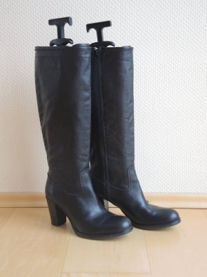 Echtleder Stiefel, schwarz