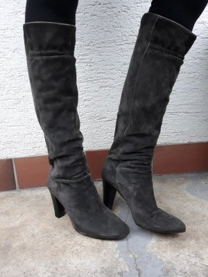 Echtleder Stiefel Wildleder echtes Leder grau Boots Sergio Rossi True Vintage 70er 80er Jahre