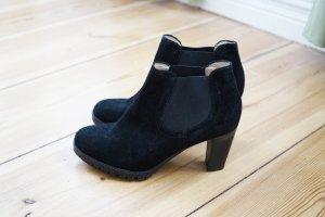 Echtleder Stiefelette Chelsea Boots schwarz Wildleder Booties Stiefel Absatz 39