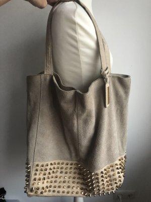Echtleder Tasche mit Nieten | Gold und Leder