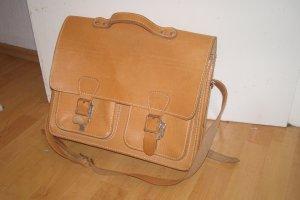 Echtleder Vintage Schultasche Tornister Uni braun