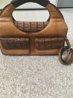 Echtleder Vintage-Tasche mit Krokoleder von Jaguar Cognac
