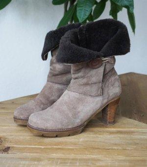 Echtleder Winter Boots gefüttert Fell Absatz mushroom / champignon braun warm 39