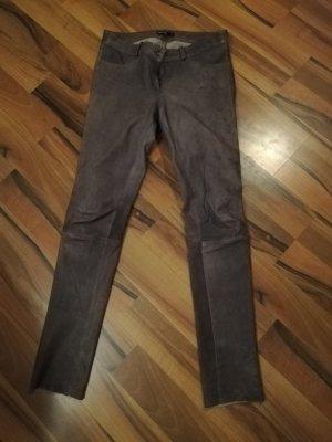 Arma Collection Pantalón de cuero lila grisáceo